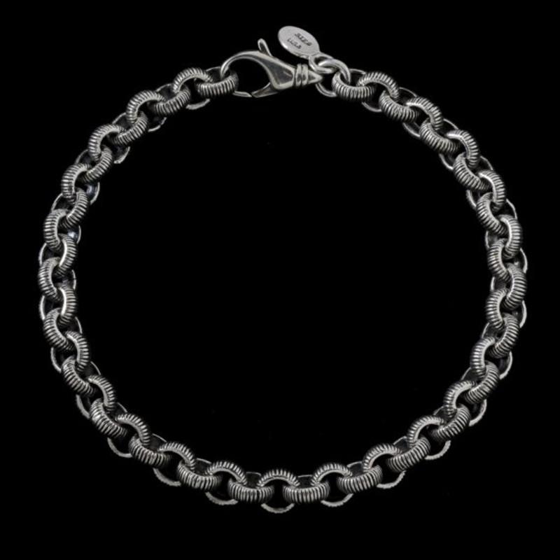 Serrated Bracelet, Sterling Silver, handmade, engraved   Bowman Originals, USA