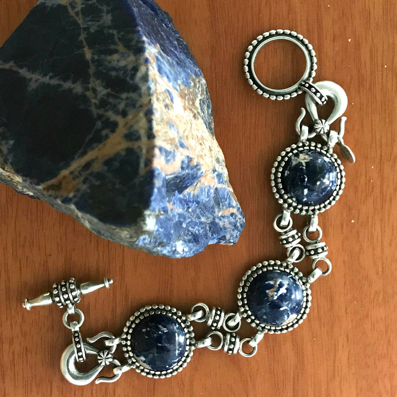 Handmade Silver, Sodalite, Bracelet by Bowman Originals