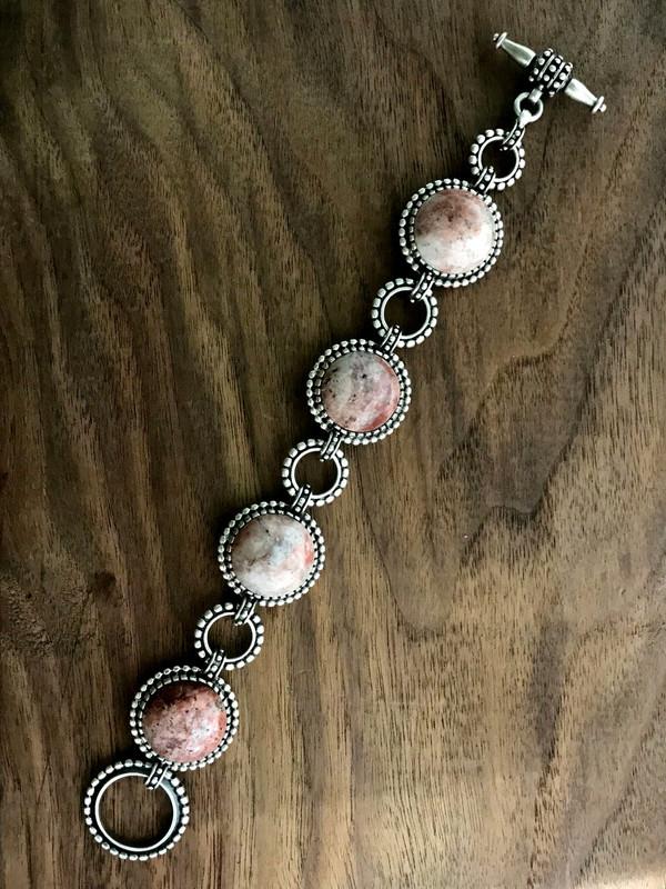 Toggle Bracelet, Silver, Strawberry Agate | Bowman Originals