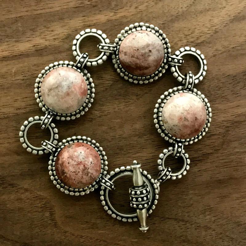 Silver Toggle Bracelet, Strawberry Agate | Bowman Originals