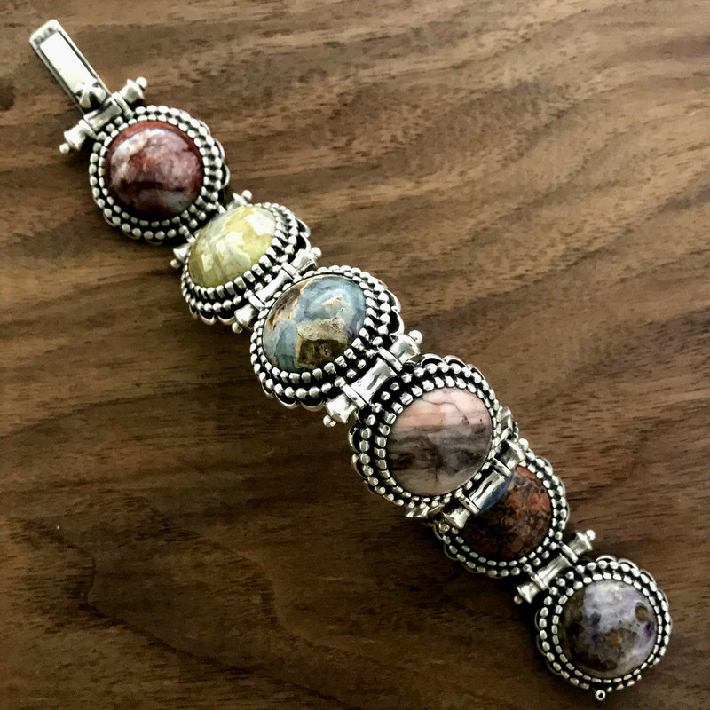 Multi Stone Minerals, Silver Bracelet by Bowman Originals.