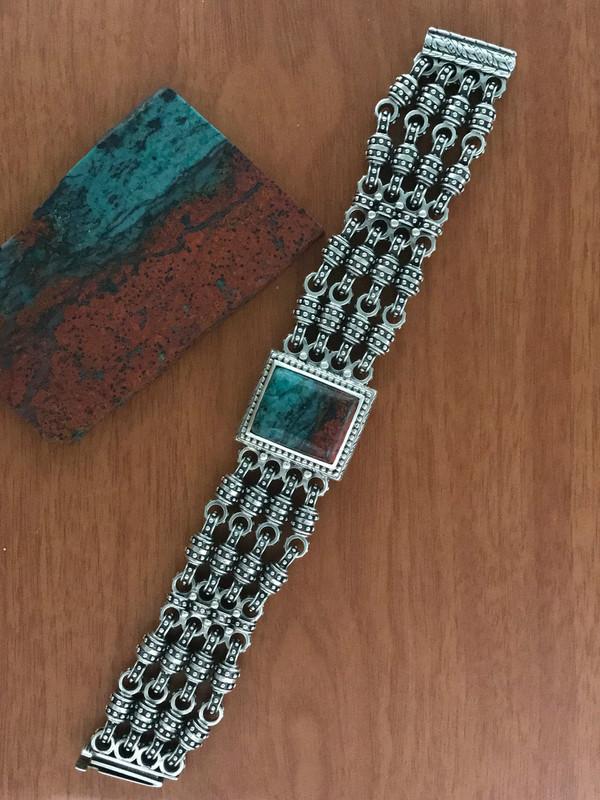 Handmade Chrysocolla, Silver Bracelet  by Bowman Originals