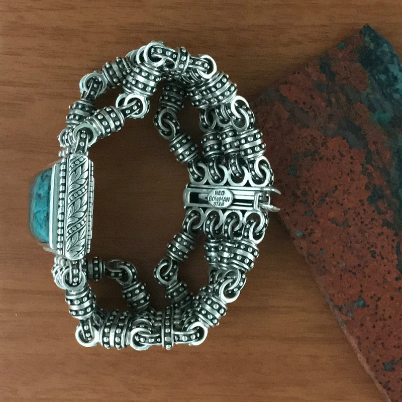 Handmade Silver Bracelet, Chrysocolla by Bowman Originals