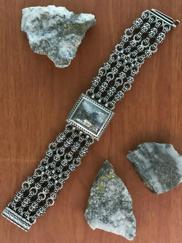 Handmade Silver Bracelet with Silver Ore | Bowman Originals