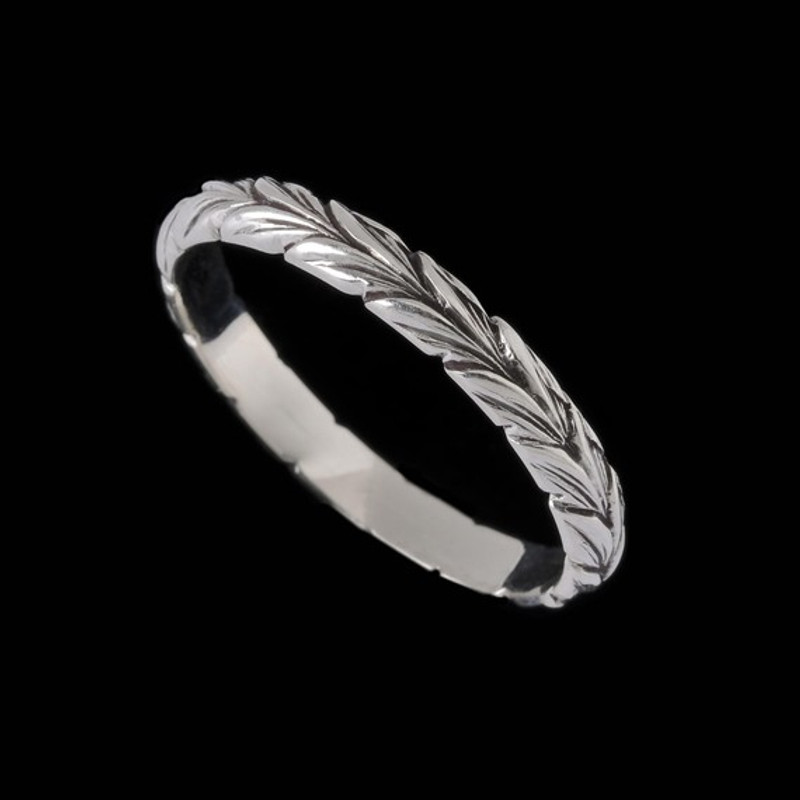 Narrow Leaf Wedding Ring Band custom handmade engraved by Bowman Originals, Sarasota, 941-302-9594.