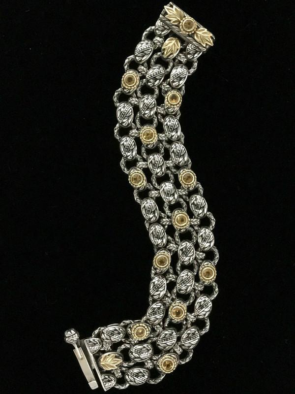 Laurel Leaf Bracelet, Sterling Silver, 18 k Gold, Citrine, Enamel handmade by Bowman Originals, Sarasota, 941-302-9594
