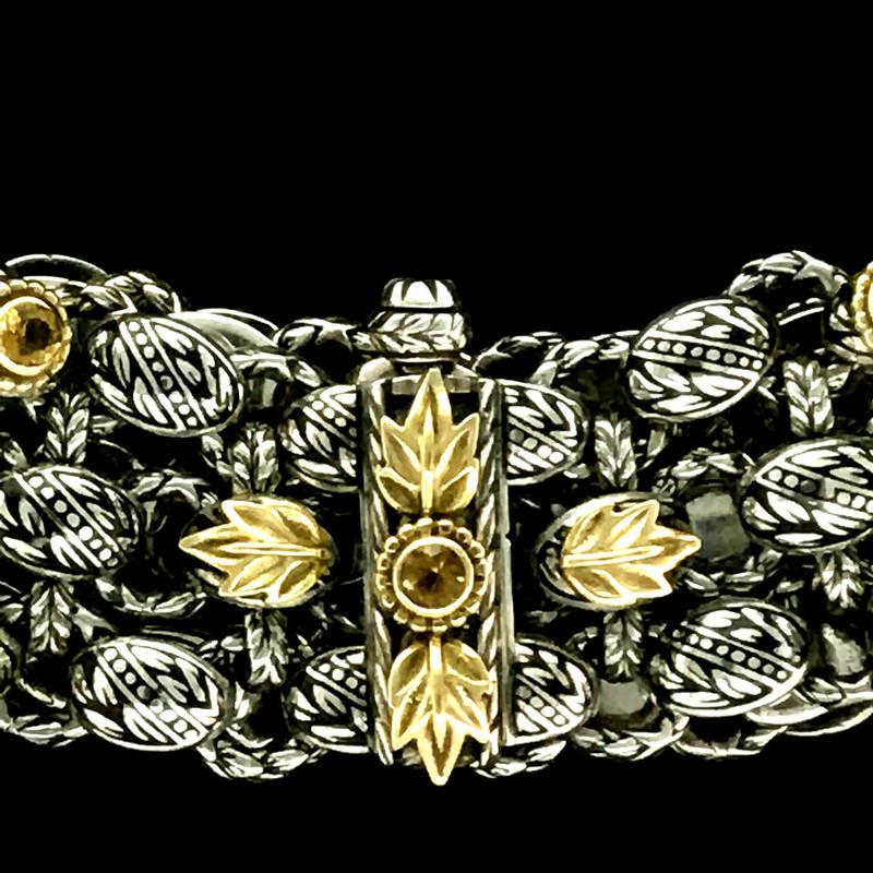 Laurel Leaf Bracelet clasp, Sterling Silver, 18 k Gold, Citrine, Enamel by Bowman Originals, Sarasota, 941-302-9594.