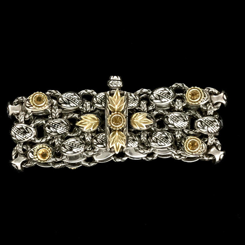 Clasp on Laurel Leaf Bracelet handmade by Bowman Originals in Sterling Silver, 18 k Gold, Citrine, Black Enamel. Sarasota, Florida. 941-302-9594