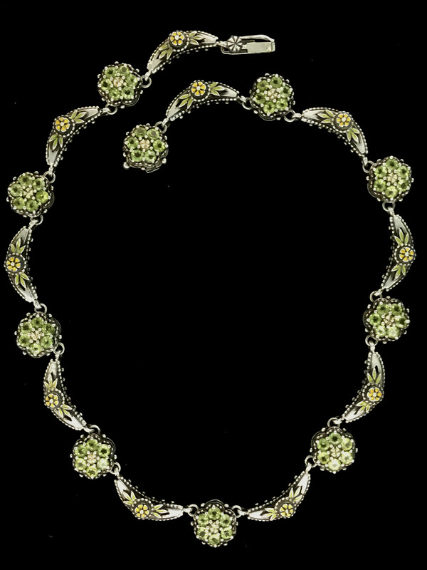 Peridot Cluster Necklace links in Sterling Silver, 18 k Gold and enamel by Bowman Originals, Sarasota, 941-302-9594