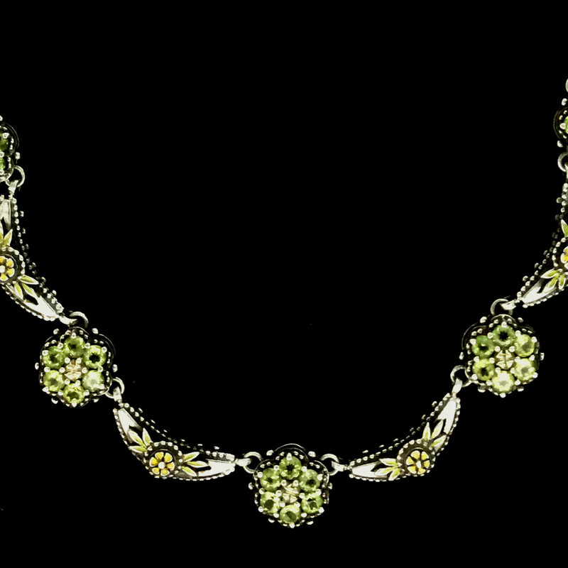 Peridot Cluster Necklace details of custom handmade Sterling Silver, 18 K Gold and Enamel necklace by Bowman Originals, Sarasota, 941-302-9594