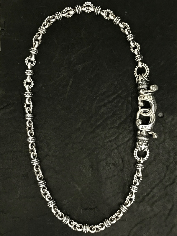 "Handmade beaded Sterling Silver Two ""Hook"" Necklace handmade by Bowman Originals, Sarasota, 941-302-9594"