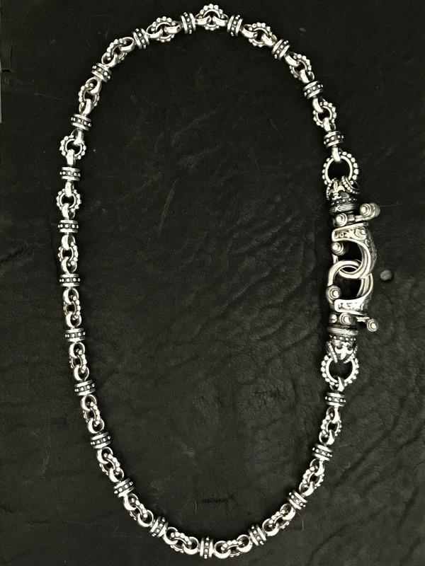 "Handmade beaded Sterling Silver Two ""Hook"" Necklace handmade by Bowman Originals, Sarasota, 941-302-9594"