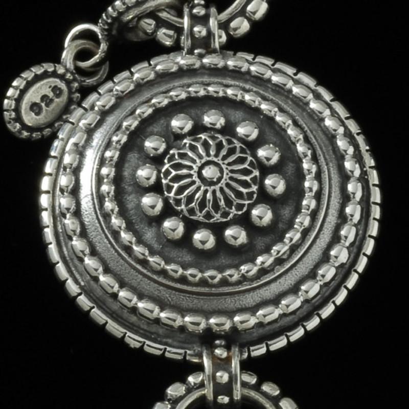 Key Chain beaded Silver sundial medallion by Bowman Originals, USA
