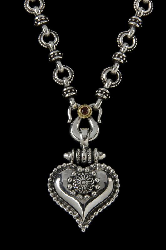 Heart Necklace, Sterling Silver, 18 K Gold, Garnet handmade by Bowman Originals, Sarasota, 941-302-9594