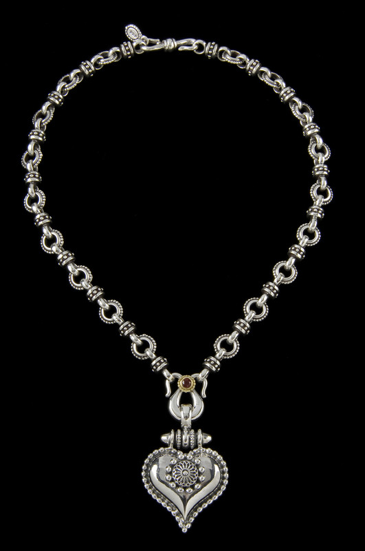 Link Sterling Silver necklace accented with 18 K Gold and Garnet by Bowman Originals, 941-302-9594