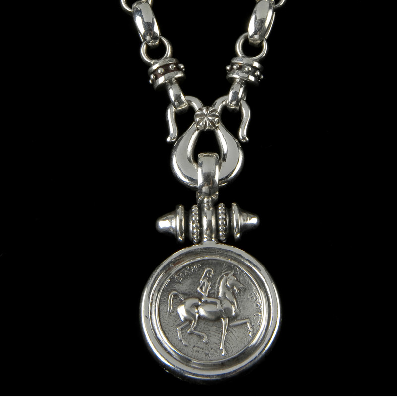 Lady Godiva Necklace Pendant handmade  in Sterling Silver by Bowman Originals, Sarasota, 941-302-9594.