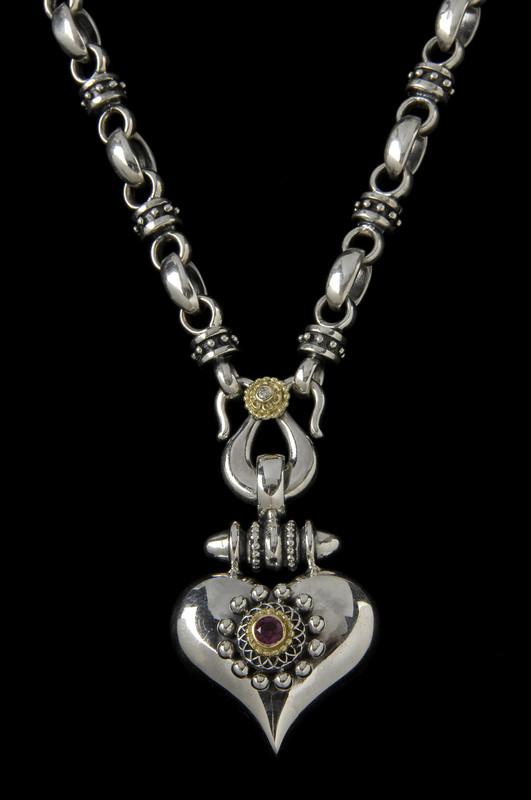 Heart Necklace, handmade, Sterling Silver, 18 k Gold, Diamond, Garnet by Bowman Originals, 941-302-9594.