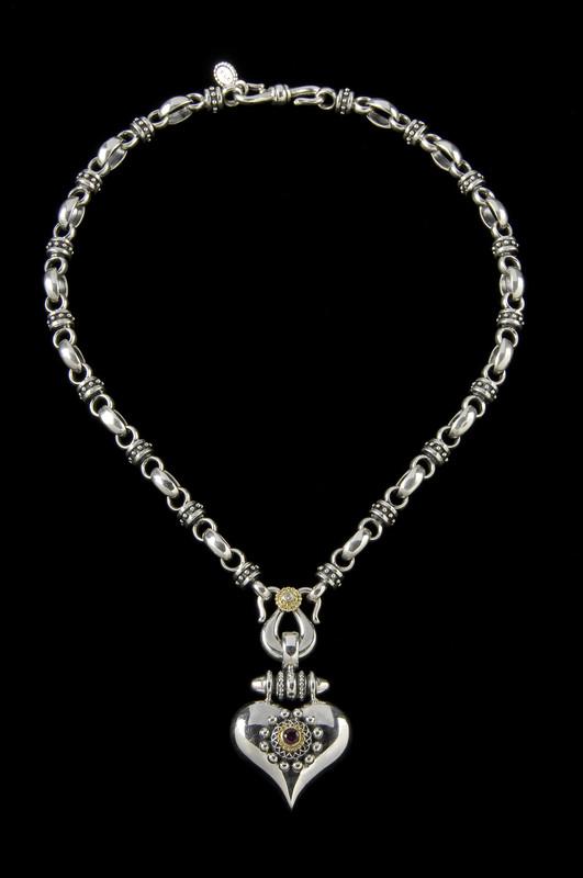 Heart Necklace link chain, custom handmade Silver, Gold, Diamond, Garnet by Bowman Originals, 941-302-9594.