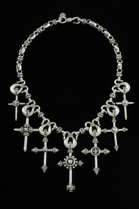 Seven Cross Necklace links in custom Sterling Silver by Bowman Originals, USA