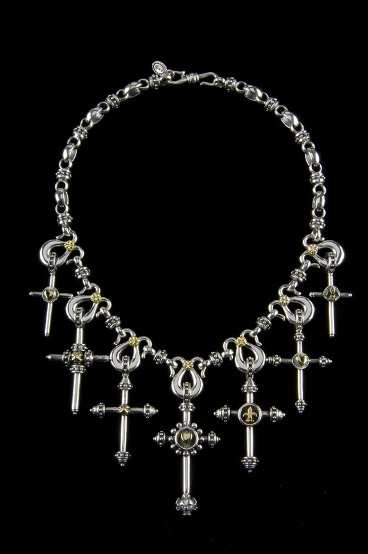 Seven Cross Necklace links in Silver with accents in Gold by Bowman Originals, USA