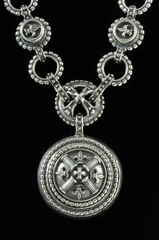 Fleur de lis Necklace handmade  in Sterling Silver by Bowman Originals, 941-302-9594.