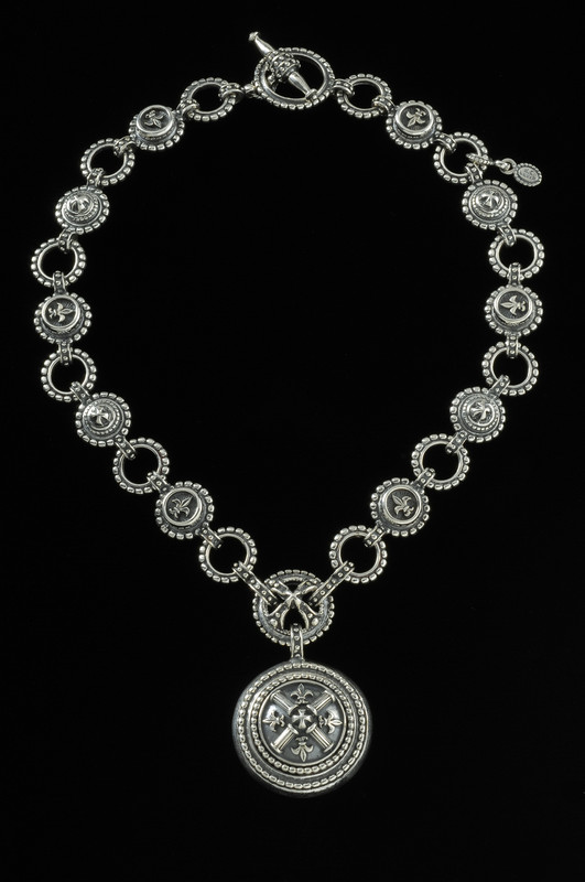 Fleur de lis Necklace with pendant and links in Silver by Bowman Originals, 941-302-9594.