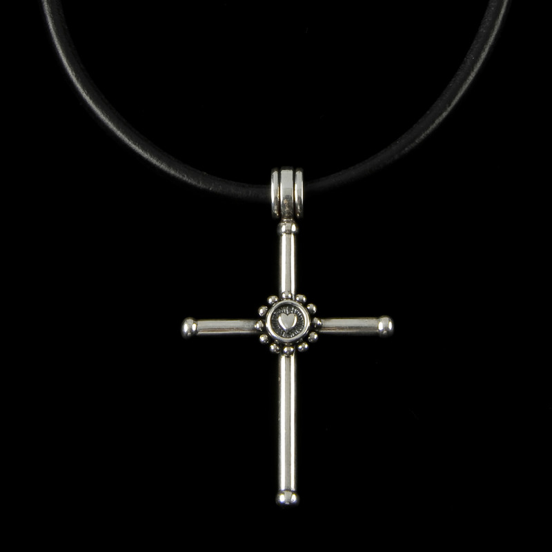 Large Cross, Sterling Silver with Cross center on leather handmade by Bowman Originals, Sarasota, 941-302-9594.