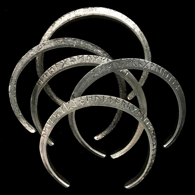 Runes Cuff Bracelets in Silver with Runes engraved by Bowman Originals, USA