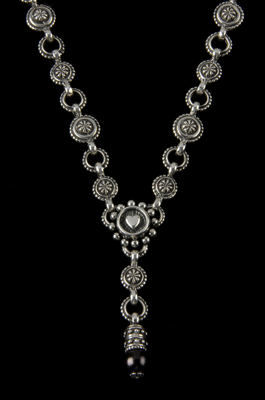 """Heart """"Y"""" Necklace handmade in Sterling Silver with a pearl by Bowman Originals,  Sarasota, 941-302-9594."""