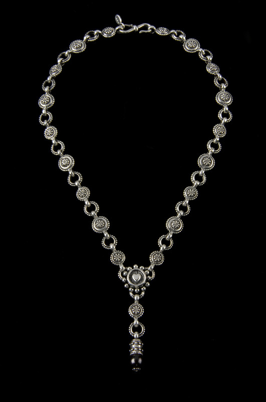 """Heart """"Y"""" Necklace, handmade Sterling Silver links with a pearl by Bowman Originals, Sarasota, 941-302-9594."""