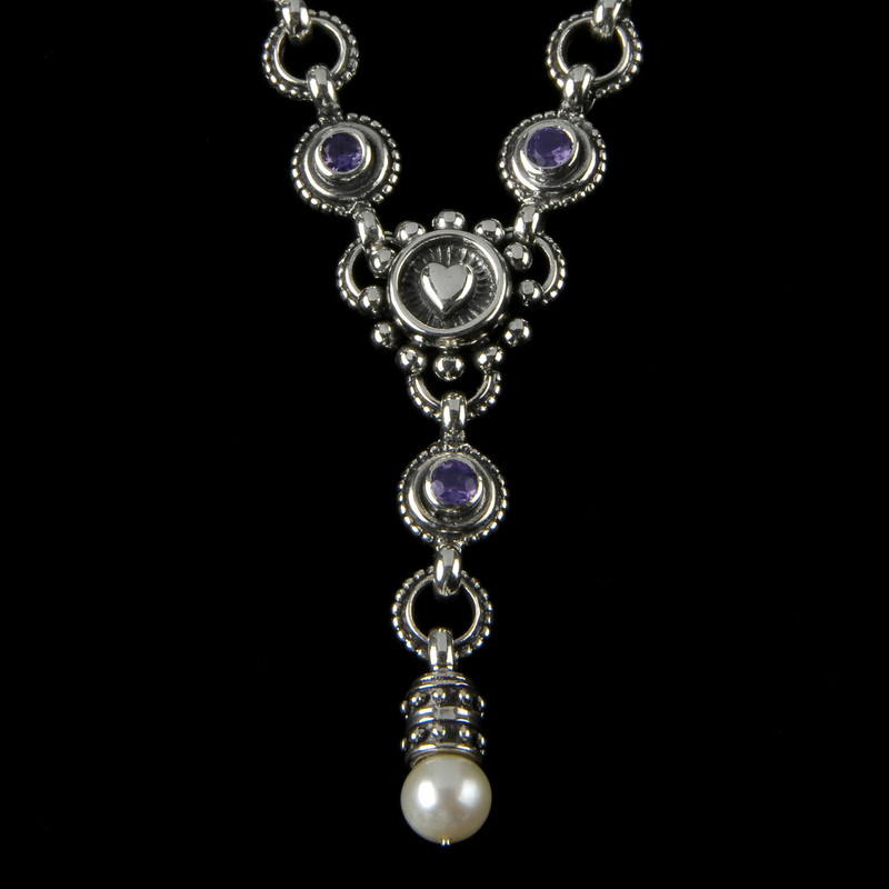 "Amethyst, Pearl and Sterling Silver handmade Heart ""Y"" Necklace by Bowman Originals, Sarasota, 941-302-9594."