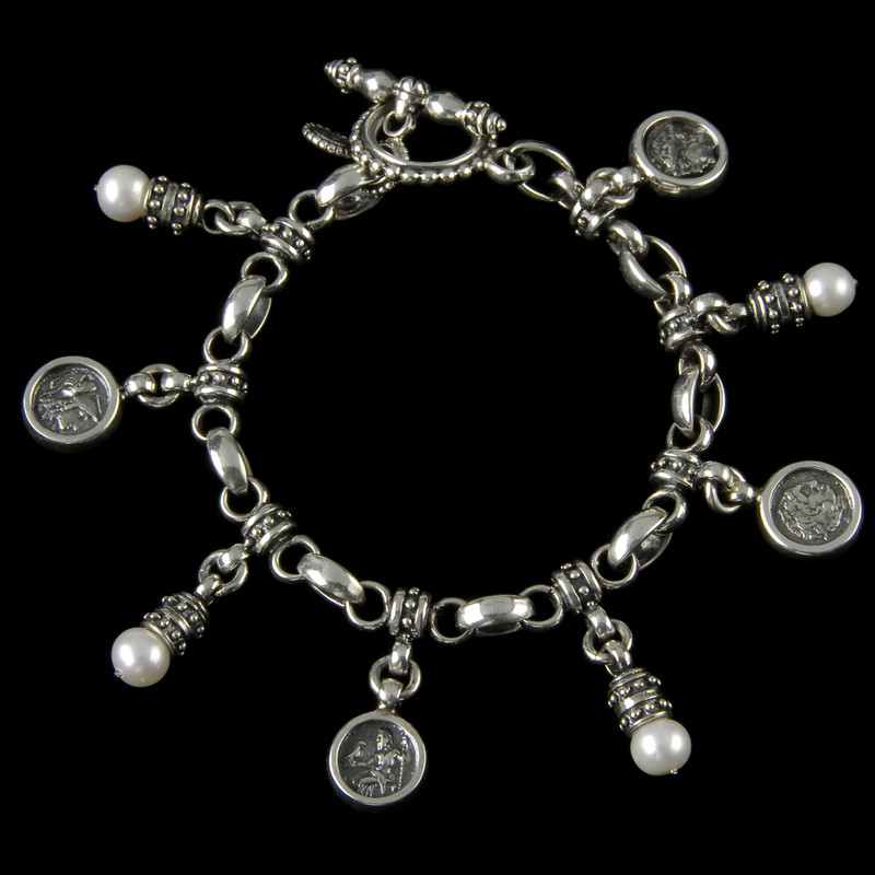 Charm Bracelet, Sterling Silver, Pearls by Bowman Originals, Sarasota, 941-302-9594