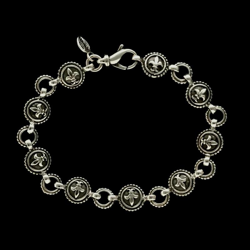 Fleur de lis Bracelet handmade in Sterling Silver by Bowman Originals, Sarasota, 941-302-9594