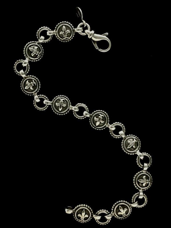 Fleur de lis Bracelet links custom handmade in Sterling Silver by Bowman Originals, Sarasota, 941-302-9594