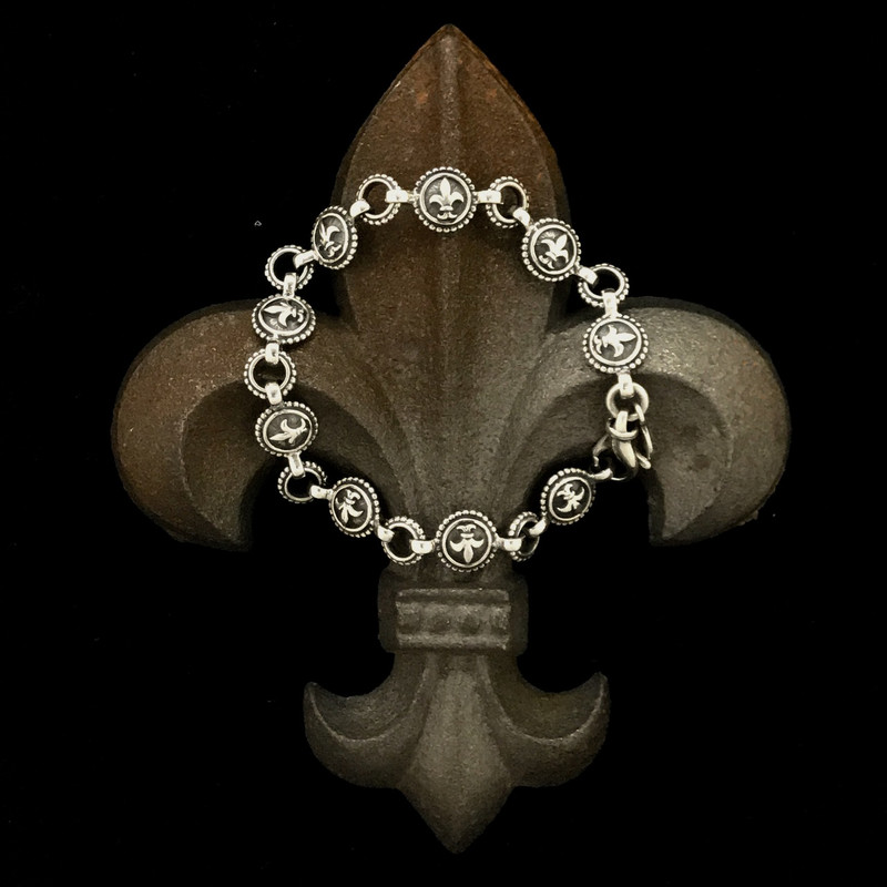 Fleur de lis, the Flower of LIfe, Sterling Silver handmade bracelet by Bowman Originals, Sarasota, 941-302-9594.