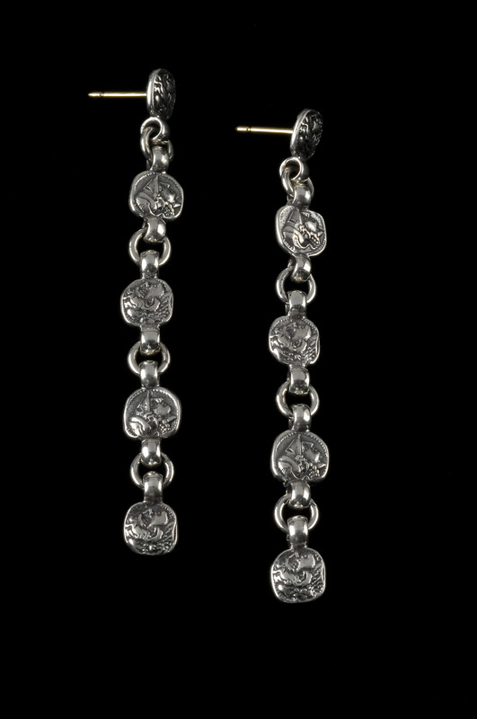 Drop Earrings, Silver, 5 tiers