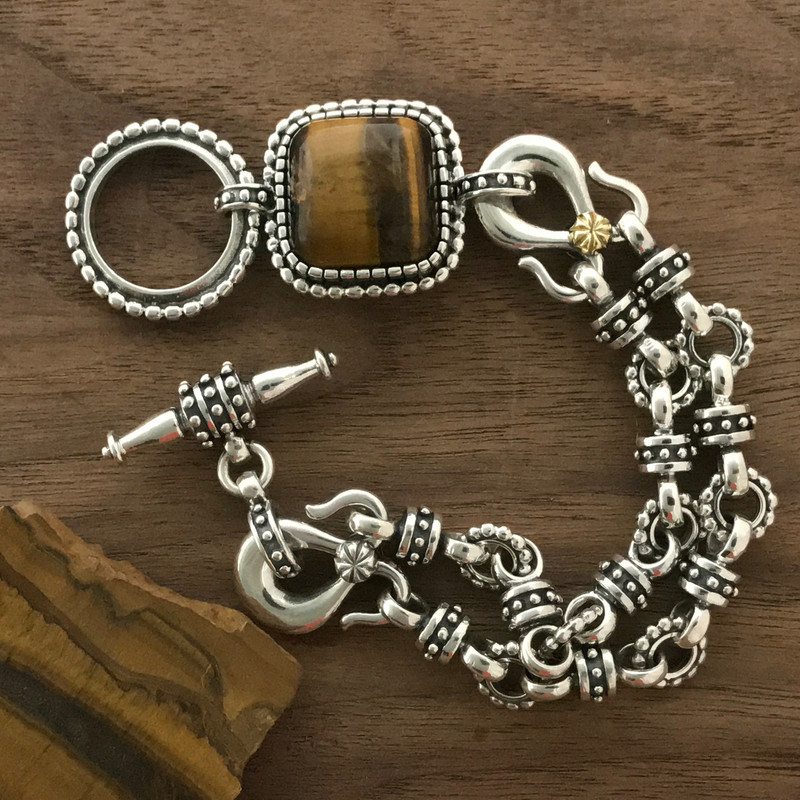 Silver, Tiger Eye, handmade bracelet by Bowman Originals