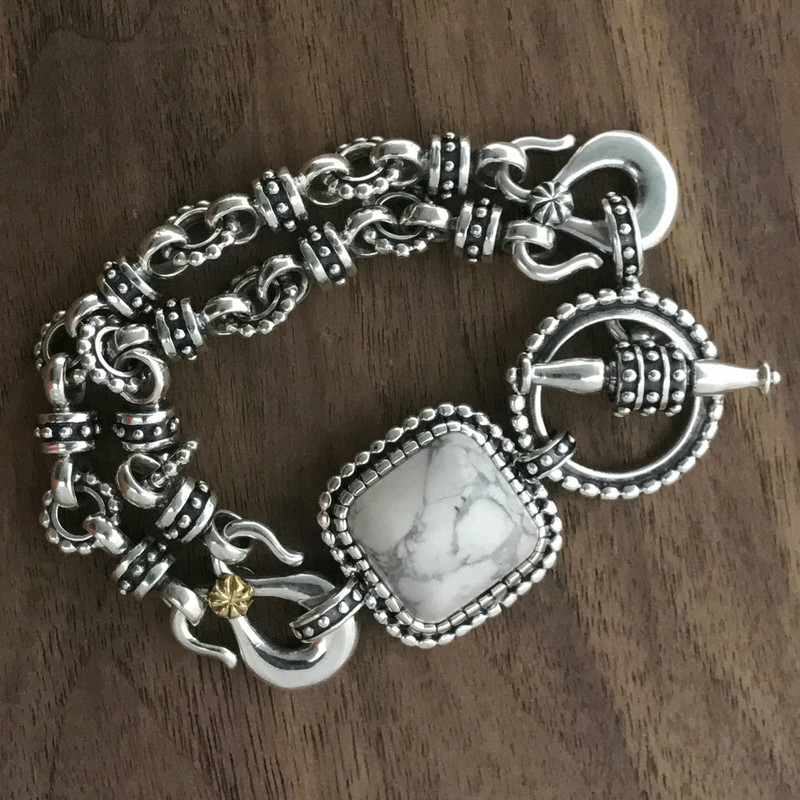 Silver Howlite toggle bracelet handmade | Bowman Originals