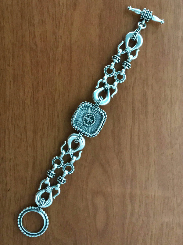 Silver Toggle Bracelet handmade details by Bowman Originals