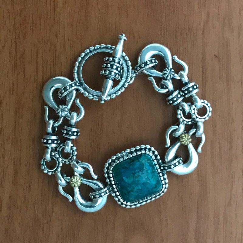 Silver , Gold, Chrysocolla,  handmade bracelet | Bowman Originals