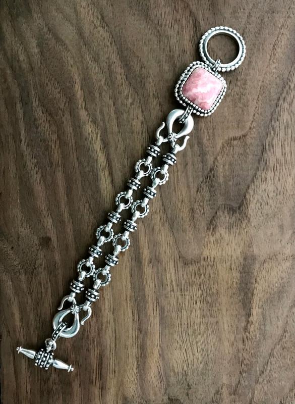 Toggle link bracelet, Silver, Rhodochrosite | Bowman Originals
