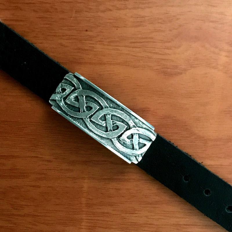 Silver Slide on Leather, Celtic design, adjustable | Bowman Originals, USA