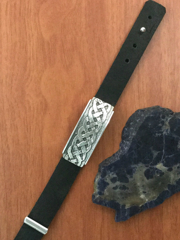 Organic Silver Slide on Bison Leather with Push Pin clasp with keeper | Bowman Originals