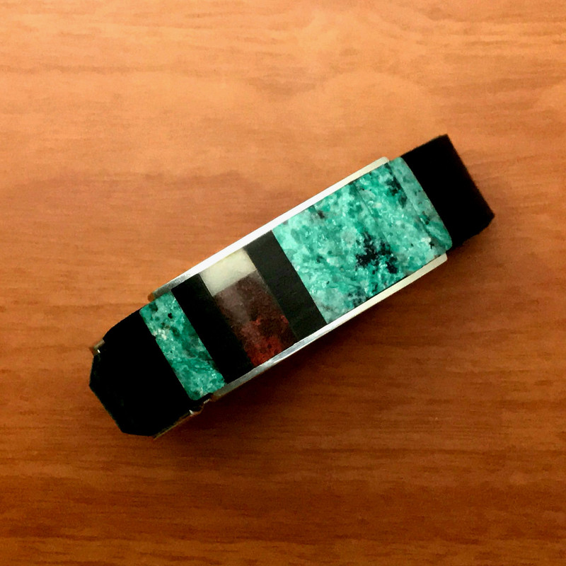 Stone Inlaid Slide on Organic Silver by Bowman Originals.
