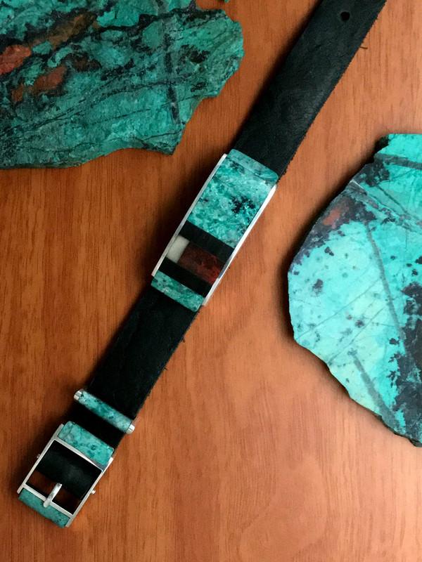 Inlaid Slide Bracelet with buckle, Sterling Silver | Bowman Originals