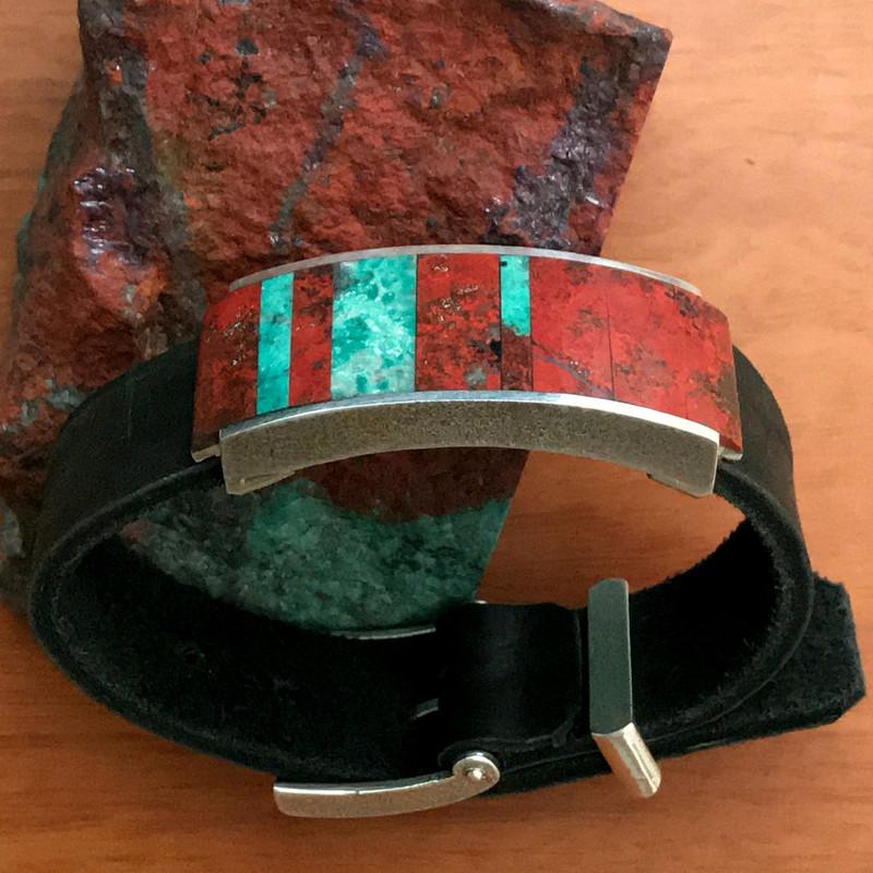 Inlaid Chrysocolla, Silver, Leather bracelet | Bowman Originals