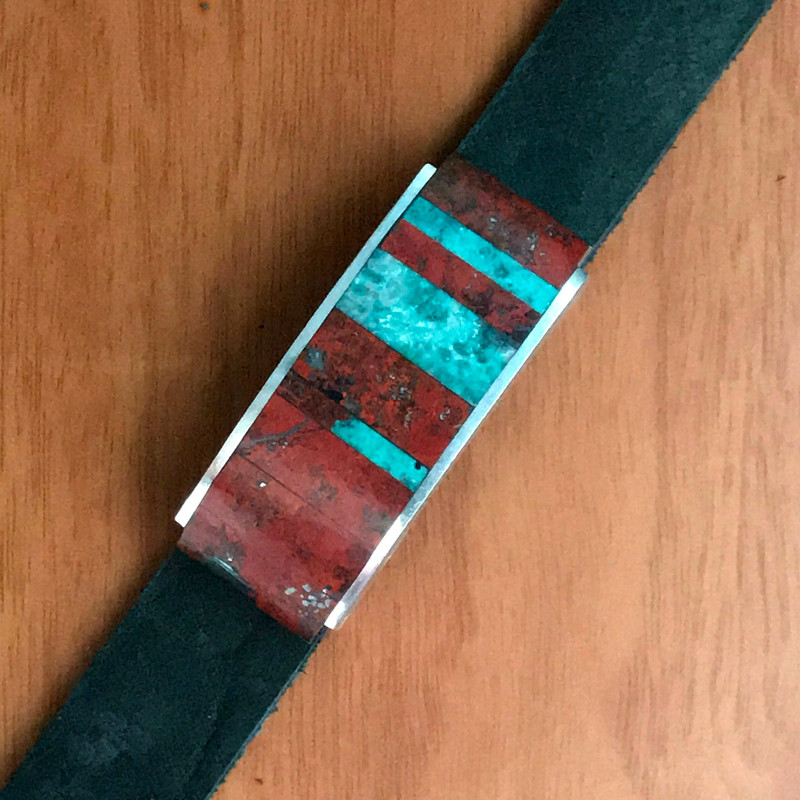 Inlaid Organic Silver Slide on Leather by Bowman Originals