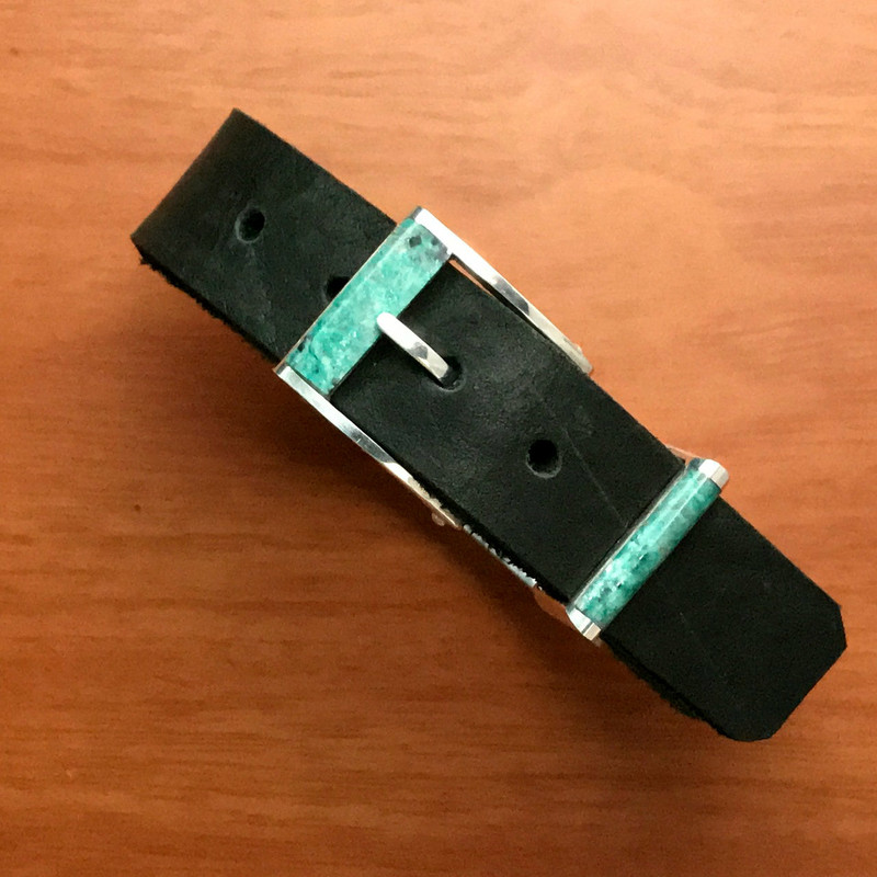 Inlaid Buckle and Keeper, Silver, Chrysocolla | Bowman Originals