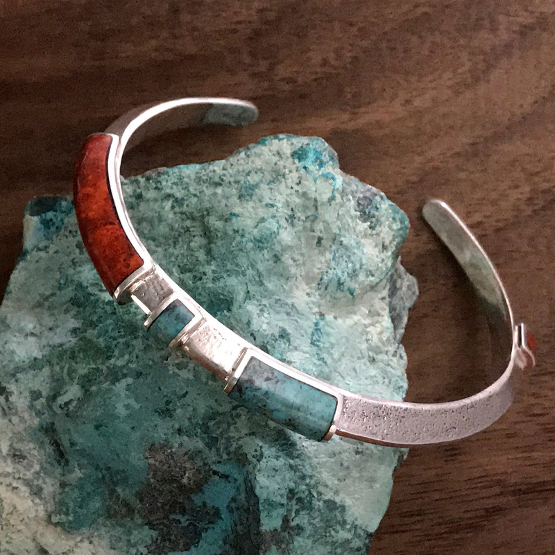 Organic Silver Cuff Bracelet, Chrysocolla, handmade by Bowman Originals