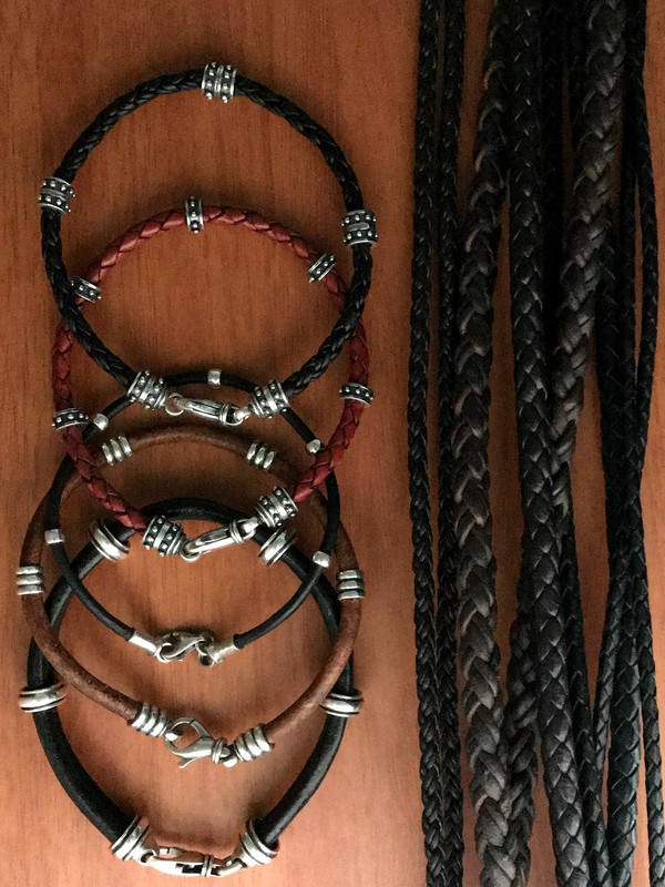 Silver and Leather Bracelets handmade by Bowman Originals, Call or text: 941.302.9594.